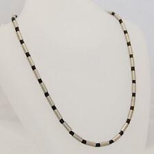 Damen Herren Collier Kette Halskette mit Zylindern aus Edelstahl und Holz  NEU