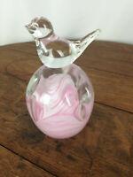 Vtg Stamped Gibson Art Glass Pink White Swirl Bird PEN HOLDER Paperweight #WH-1