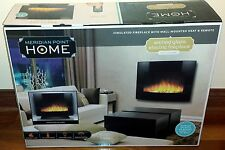 ARCHED GLASS ELECTRIC FIREPLACE WALL-MOUNTED HEATER & REMOTE REALISTIC FLAMES