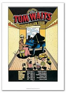 TOM WAITS Australian Tour Poster 1978 Artist: Chris Grosz