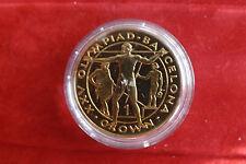 *Gibraltar 1 Crown 1992 PP(Vergoldet)*Olympia Barcelona 1992 (4) (BOX2)