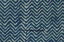 By Yard Indian Natural Cotton Indigo Blue Printed Hand Block Print Sewing Fabric