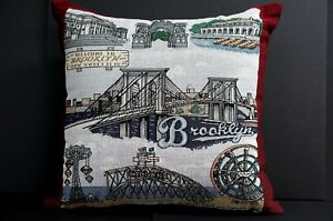 Brooklyn Landmark Pillow - ORIGINAL DESIGN Bridge Coney Island Prospect Park NEW