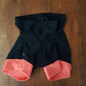 """Specialized Womens Medium Cycling Shorts 6"""" Orange/Pink Black Compression Padded"""