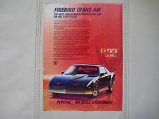 1984 PONTIAC FIREBIRD TRANS AM - Print Car Ad - Original - Excellent Condition