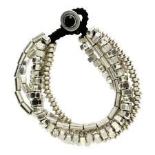 Multi 6 Strand Silver Beaded Alloy Bracelet Waxed Linen Wristband Bali Jewelry