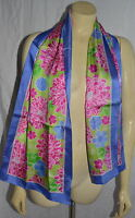 long luxury Lilly Pulitzer Floral Silk Scarf Breast Cancer Ribbon Ford 2005