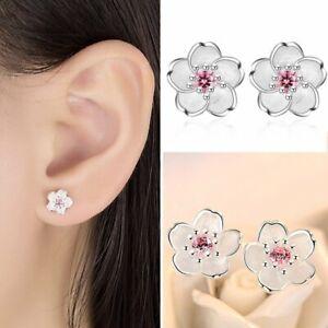 925 Silver Zircon Flower Cherry Stud Earrings Charm Women Wedding Party Hot Gift