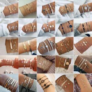 2021 Boho Multilayer Bracelet Set Women Turquoise Cuff Bangle Chain Jewelry Gift