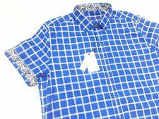 "Robert Graham Men's ""Elmare"" Blue Plaid Short Sleeve Shirt XL $178 NWT"