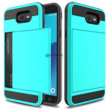 Card Pocket Wallet Hybrid Case Cover For Samsung Galaxy J7 V/Sky Pro/Prime 2017