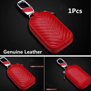 1x Genuine Leather Car Red Key Holder Men and Women Key Purse Key Case Universal