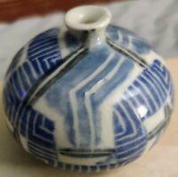 Signed Vase Carnes weed pot Studio Art Weed Pot Cobalt underglaze blue & white