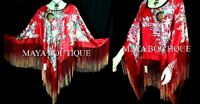 RED SILK PONCHO TOP PAINTED DANCING FRINGES MAYA MATAZARO NEW