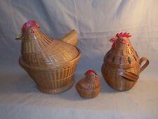 3 Vintage Wicker Nesting Chickens Hens Baskets one container Kitchen decor L@@K