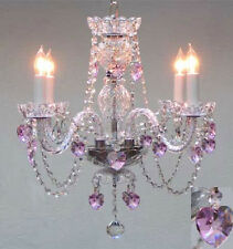 "CRYSTAL CHANDELIER LIGHTING WITH PINK CRYSTAL HEARTS! H17"" X W17"""