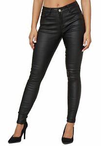 Damen Biker Leder Optik Hose Skinny Push Up Treggings Coated Denim Stretch Jeans