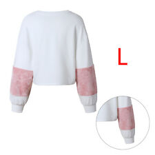 UK Womens Plush Long Sleeve Sweater Pullover Crop Tops Hoodies Sweatshirt Jumper L