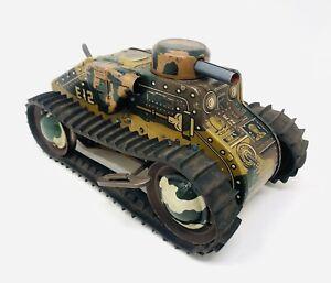 Vintage Marx E12 Toy Tin Litho Wind Up Tank Military Army Camo A21