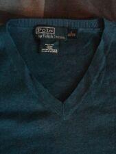 POLO Ralph Lauren collo a V Blu Cotone V Collo Maglione Nuovo senza etichette