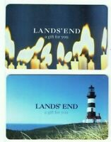 Lands End Gift Card LOT of 2 Older Styles - 2007 / Candles, Lighthouse- No Value