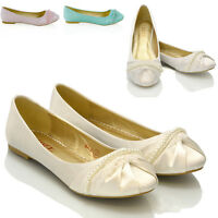 Womens Bridal Shoes Ballerina Lace Pearl Ladies Bridesmaid Satin Flats Pumps 3-9