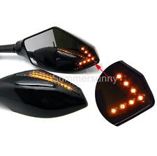 BLACK MOTORCYCLE LED TURN SIGNAL INDICATOR REARVIEW FAIRING RACING MIRROR CARBON