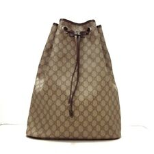 Auth GUCCI GG Plus GG Supreme 189745 Gray Dark Brown PVC Leather Backpack
