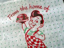 ~ RARE & vintage Bobs BIGBOY wax HAMBURGER sandwich BAG ~ lot of 6 UNUSED NOS