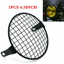 """Black 6.5"""" Metal Retro Motorcycle Headlight Lamp Square Mesh Grille Cover Mask"""