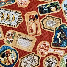 FQ Vintage Pin Up Ragazze Biglietti di Viaggio esotico FRANCOBOLLI CARTOLINE ETICHETTE in tessuto