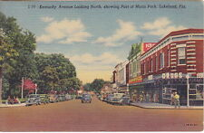 Kentucky Avenue Looking North, Lakeland, FL, Linen  Postcard