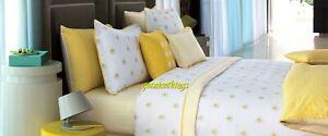 Yves Delorme 2 King Shams Cases A La Folie Yellow White Floral Graphic Cotton