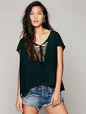 fe0942c25e We the Free Free People TOO COOL FOR SCHOOL Distressed Top Tee Shirt L Black