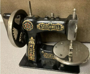 Antique Stitchwell Salesman Sample Sewing Machine Cast Iron Singer Stamped