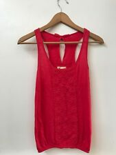 Small Hollister Red Tank Floral Keyhole Back Womens Juniors Top Shirt Blouse