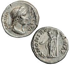 Silver denarius of Sabina, wife of Hadrian.  Queen Juno reverse.
