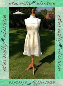 Original Antique Vintage Victorian Edwardian Silk Lace Chemise Slip Lingerie S 8