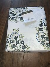 New, Twin Size, White/Blue Floral Threshold Performance Sheet Set