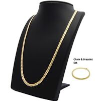 14k Mens Miami Cuban link Chain & Bracelet Set Gold Plated 5mm Necklace