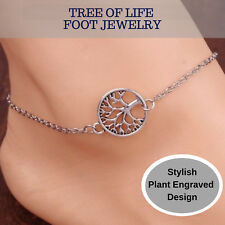 Gorgeous Sterling Silver Tree of Life Charm Anklet Hot Nature Style Foot Jewelry