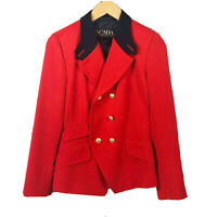 Escada Margaret Ley Red Double Breasted Blazer Gold Buttons Womens Size 2
