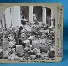 WW1 Stereoview Shell Stricken Cathedral At Arras Realistic Travels