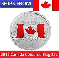 * 2015 Canada Coloured Color 25 Cents Quarter FLAG Uncirculated Mint State MS *