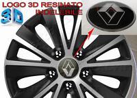 4 adesivi top resinati 3D logo RENAULT coprimozzo copricerchi calotte Ø 54 mm PT