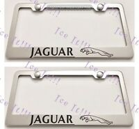 """2 Brand New /""""JaguaLOGO/"""" BLACK Metal License Plate Frame Front/&Rear"""