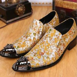Men's Fashion Pointy Toe Rivet Floral Slip On Loafers  Leather Dress Shoes N174