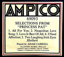 AMPICO ReCut SELECTIONS FROM PRINCESS PAT 5-Selections 69093 Player Piano Roll