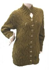 Shi Johnson Olive Green hand knitted Jumper Cardigan with Crystal effect buttons