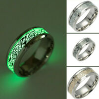 Vintage Stainless Steel Men's New Glow in The Dark Dragon Ring Jewelry